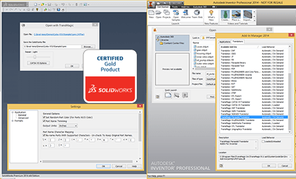 Intregrate CAD Translation with SOLIDWORKS or Autodesk Inventor